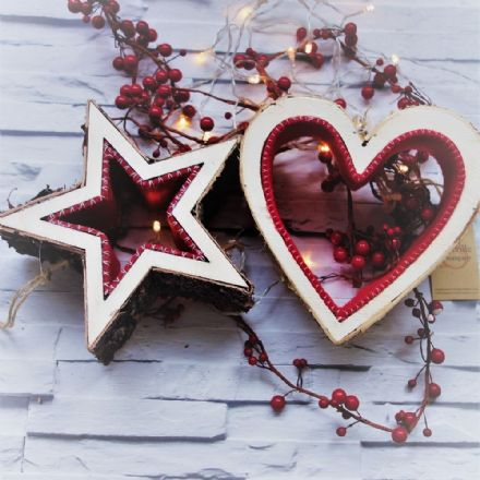 50% OFF Birch Hearts & Stars with Red Felt